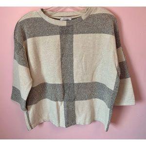 Zara Trafaluc 3/4 Sleeve Geometric Shirt